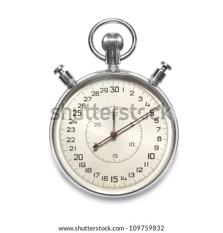 Silver metallic stopwatch isolated on white background - stock photo