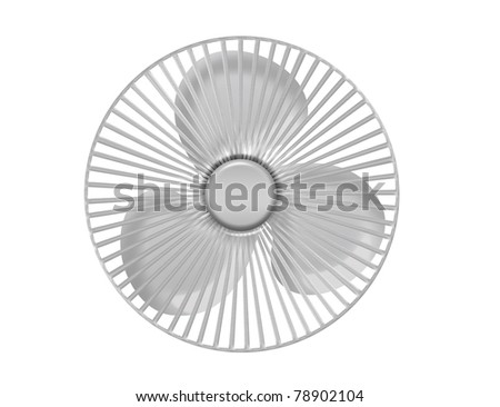 silver metallic ventilator isolated over white background