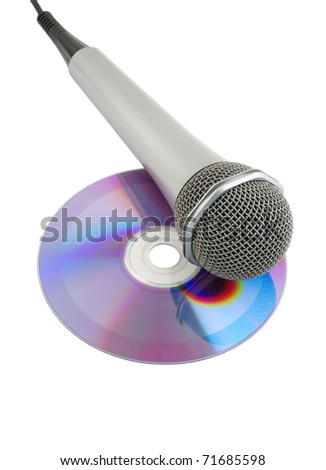 Silver microphone and cd isolated on white background - stock photo