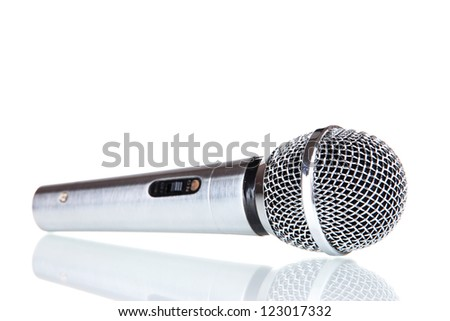 Silver microphone isolated on white - stock photo