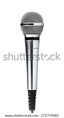 Silver microphone on white background  - stock photo