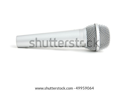 silver microphone white isolated