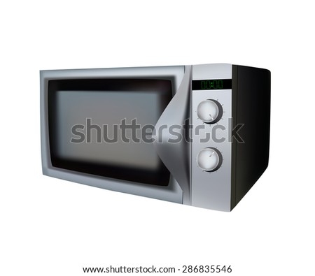 Silver microwave oven on a white background vector illustration