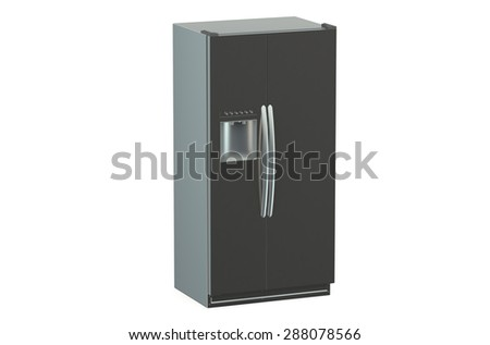 Silver modern fridge with side-by-side door system - stock photo