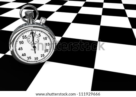 Silver modern Stopwatch on a chess board background