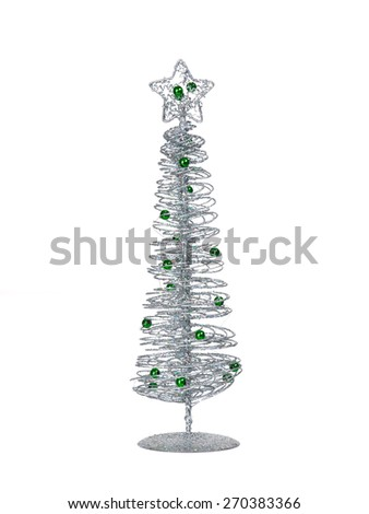 Silver modern wire Christmas tree isolated on white background - stock photo