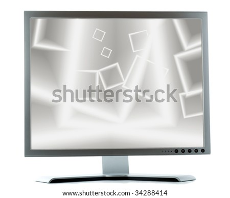 silver monitor on a white background - stock photo