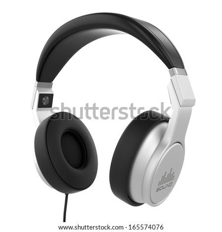 Silver musical headphones. - stock photo
