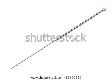 Silver needle acupuncture on an isolated white background. - stock photo