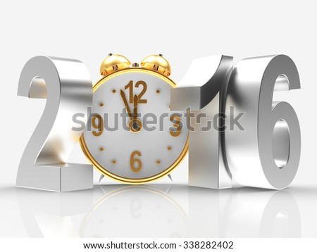 Silver New Year 2016 and clock isolated on white background  - stock photo