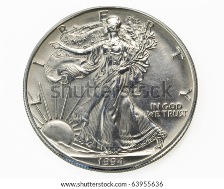 Silver one dollar coin macro - stock photo