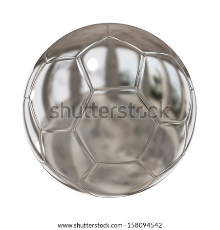 Silver or platinum soccer ball isolated on white background