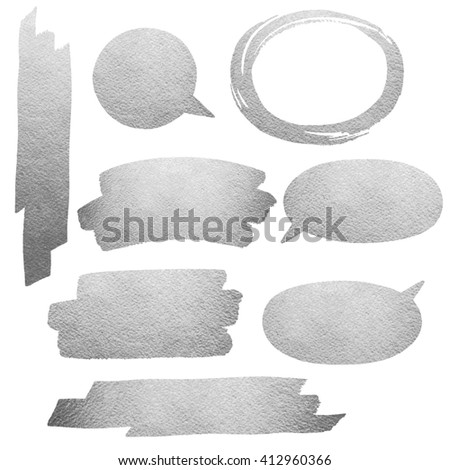 Silver or steel brush strokes isolated on white background. Iron or grey speech bubbles and oval brush stroke frame. Silver or gray brushstrokes collection. Raster version. - stock photo