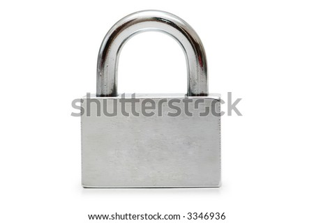 Silver padlock  isolated on the white background - stock photo
