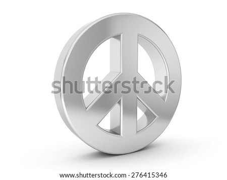 silver peace symbol on a white background. - stock photo