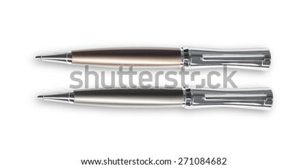 Silver pen isolated on a white background - stock photo