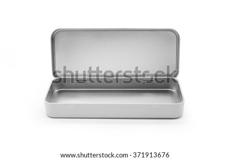 Silver pencil box on white background. - stock photo