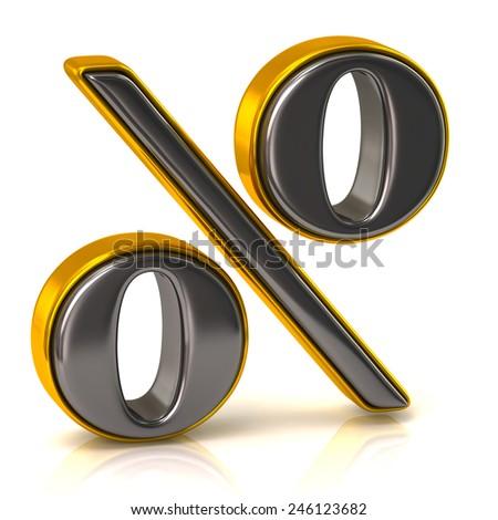 Silver percentage icon - stock photo