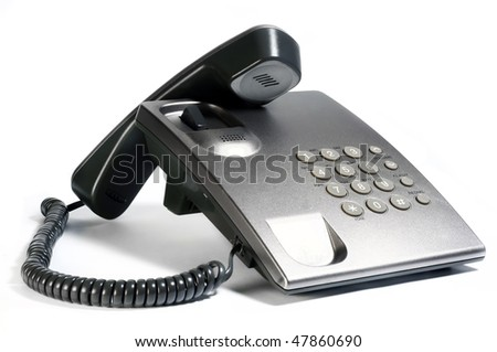 silver phone isolated on white background - stock photo