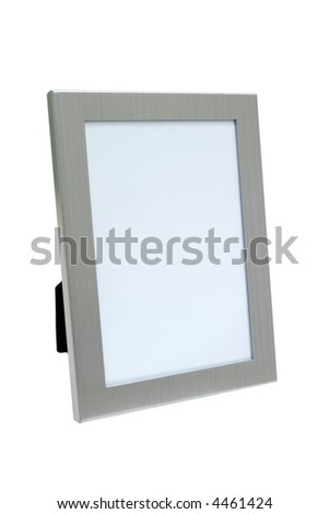 Silver photo frame with empty space for photo - stock photo