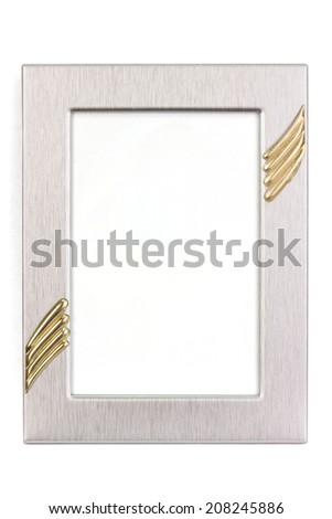 Silver picture frame in portrait format - isolated on white - stock photo