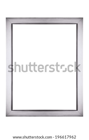 Silver picture frame isolated - stock photo