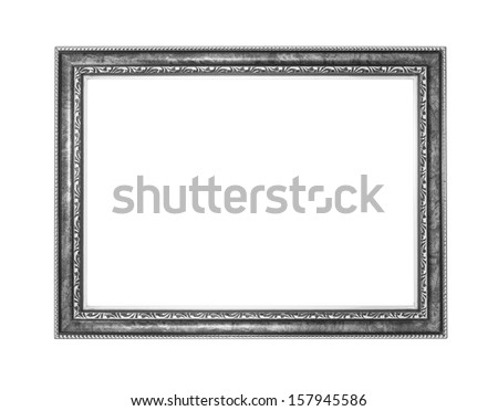 silver picture frame .Isolated on white background - stock photo