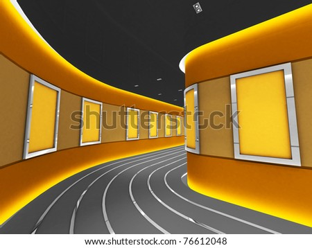 Silver picture frames in a modern gallery tunnel - stock photo