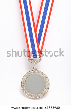 Silver plain metal medal with color stripes, isolated on white background.