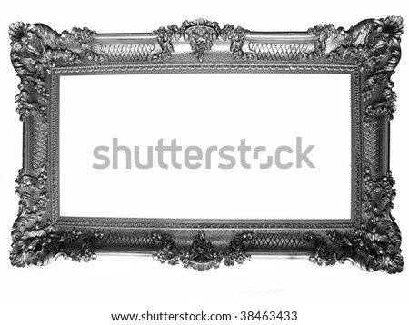silver plated wooden picture frame - stock photo