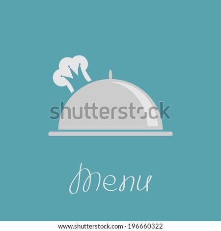 Silver platter cloche and chef  hat in shape of crown. Menu cover.  - stock photo