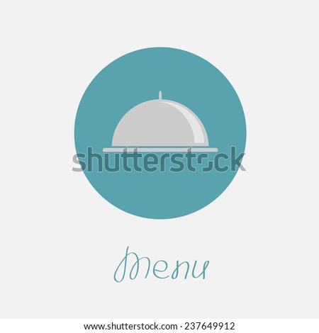 Silver platter cloche circle icon. Flat design. Menu cover. Flat design  - stock photo