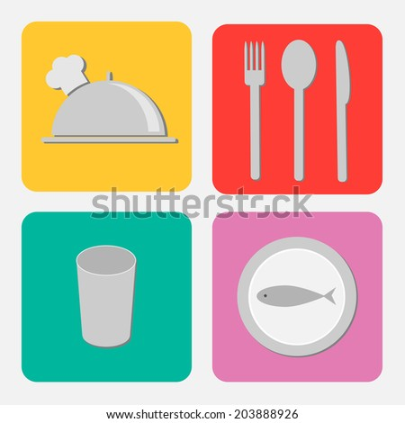 Silver platter cloche, fork, spoon, knife, glass and plate with fish. Flat design icon set.  - stock photo