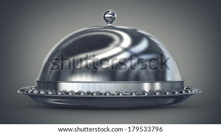 silver platter High resolution 3D image  - stock photo
