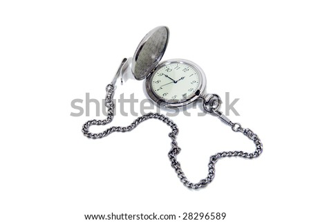 Silver pocket watch with a metal chain for distinguished time-Path included