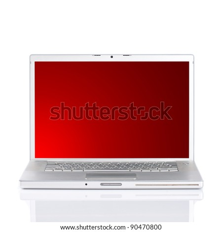 Silver portable computer with clipping path.Front view. - stock photo
