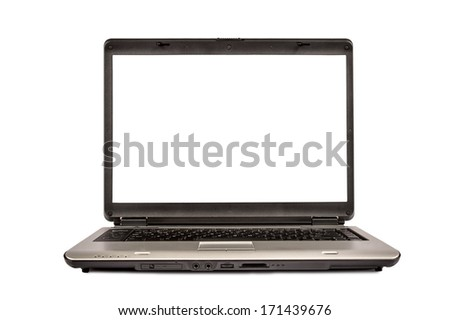 Silver Portable Laptop Computer XXXL/ Laptop Isolated XXXL/ Horizontal shot/  Focus On Monitor - stock photo