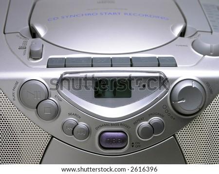 Silver Portable Music Boom Box close up - stock photo