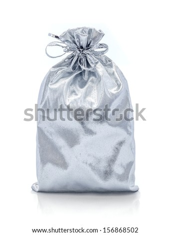 Silver present bag on the white background - stock photo