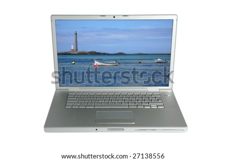Silver professional icon of the laptop - stock photo