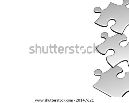 Silver puzzles with copyspace. There is a clipping path - stock photo