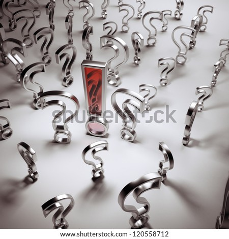 Silver questions and red answer - stock photo
