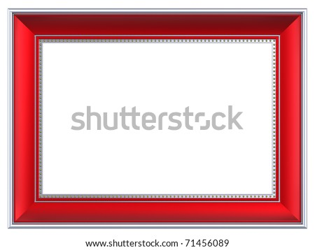 Silver-red rectangular frame isolated on white background. Computer generated 3D photo rendering. - stock photo