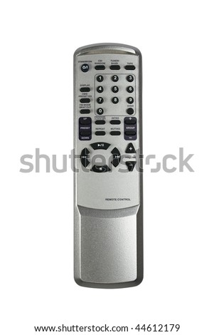 Silver remote control isolated with clipping path - stock photo