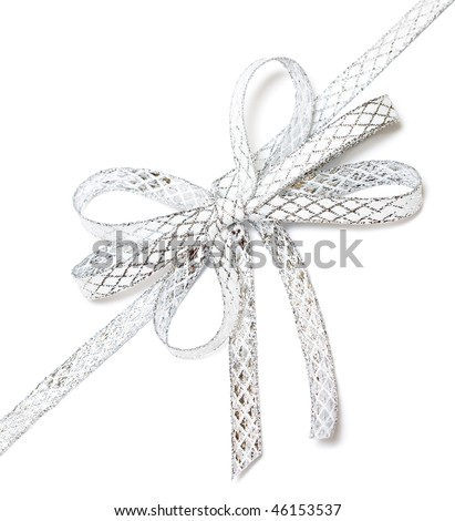 silver ribbon isolated on white background - stock photo