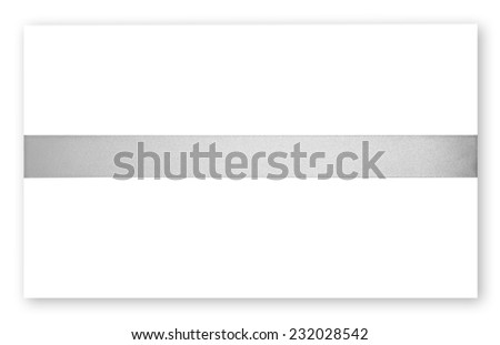 Silver ribbon on white background - stock photo