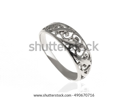 silver ring on white background