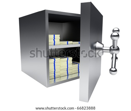 silver safe vault filled with packs of money isolated on white background - stock photo