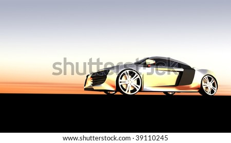 Silver saloon style business car at sunset / sunrise - stock photo