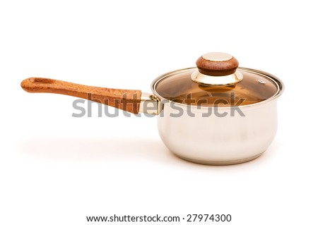 Silver saucepan isolated on the white background - stock photo